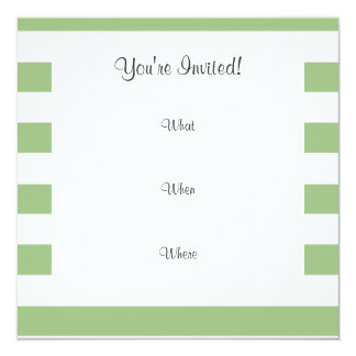 Funny Hipster; Laurel Green Horizontal Stripes Invitation