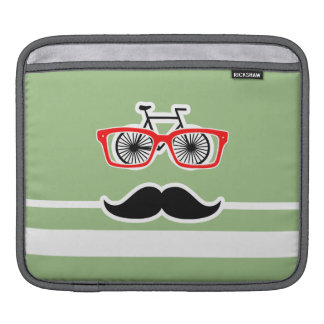 Funny Hipster; Laurel Green Horizontal Stripes iPad Sleeve