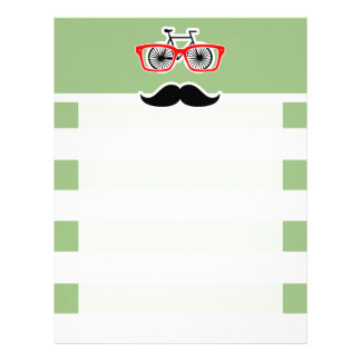 Funny Hipster; Laurel Green Horizontal Stripes Letterhead