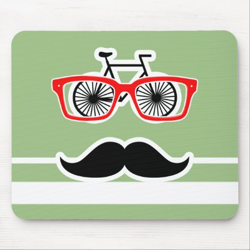 Funny Hipster; Laurel Green Horizontal Stripes Mouse Pad