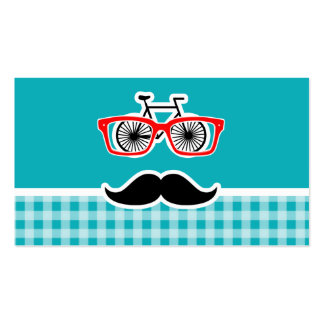 Funny hipster mustache; Blue-Green Gingham Business Card Templates