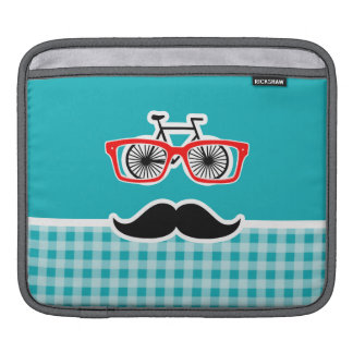 Funny hipster mustache; Blue-Green Gingham iPad Sleeve