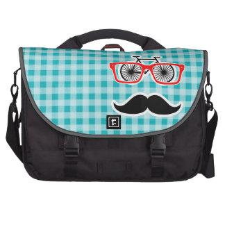 Funny hipster mustache; Blue-Green Gingham Laptop Bag