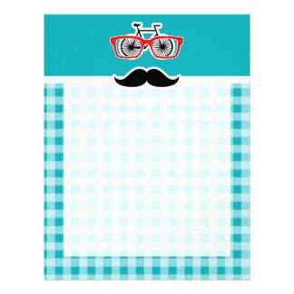 Funny hipster mustache; Blue-Green Gingham Letterhead Design