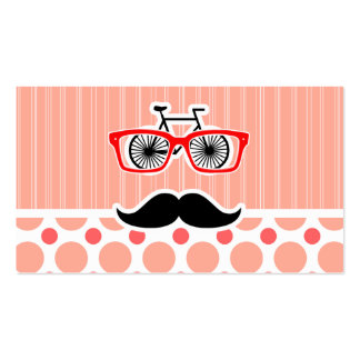 Funny Hipster Mustache; Coral & Pink Dots Business Card