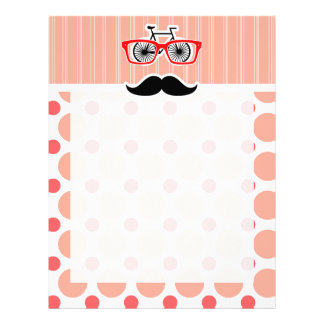 Funny Hipster Mustache; Coral & Pink Dots Custom Letterhead