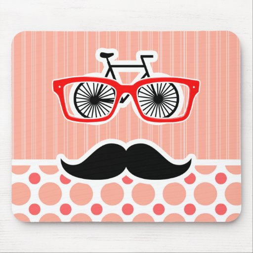 Funny Hipster Mustache; Coral & Pink Dots Mousepad