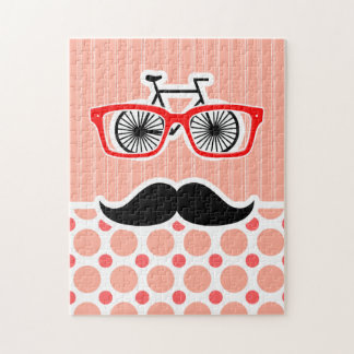 Funny Hipster Mustache; Coral & Pink Dots Jigsaw Puzzle