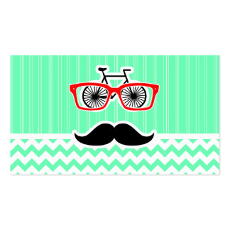 Funny Hipster Mustache; Green Chevron Business Card Templates