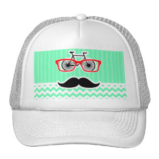 Funny Hipster Mustache; Green Chevron Hat