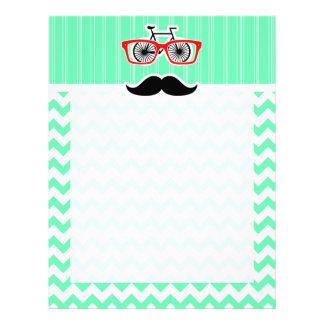 Funny Hipster Mustache; Green Chevron Custom Letterhead