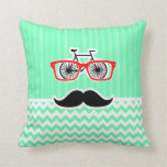 Funny Hipster Mustache; Green Chevron Pillows