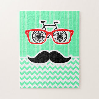 Funny Hipster Mustache; Green Chevron Jigsaw Puzzles
