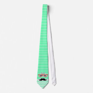 Funny Hipster Mustache; Green Chevron Tie