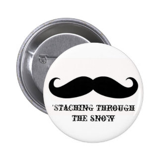 Funny hipster mustache holiday xmas mustaches 2 inch round button