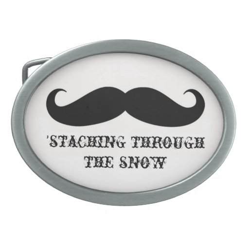 Funny hipster mustache holiday xmas mustaches oval belt buckle