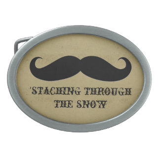 Funny hipster mustache holiday xmas mustaches oval belt buckles