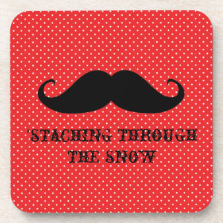 Funny hipster mustache holiday xmas mustaches drink coaster