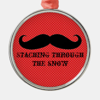 Funny hipster mustache holiday xmas mustaches round metal christmas ornament
