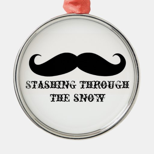Funny hipster mustache holiday xmas mustaches christmas tree ornament