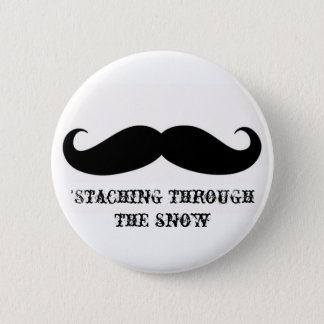 Funny hipster mustache holiday xmas mustaches pinback button