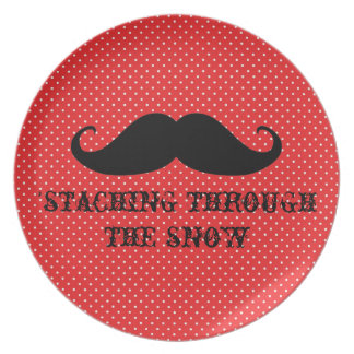 Funny hipster mustache holiday xmas mustaches plate