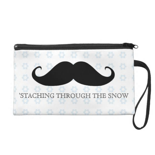 Funny hipster mustache holiday xmas mustaches wristlet purse