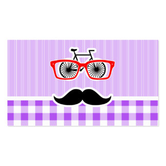 Funny Hipster Mustache Purple Gingham Business Card Templates