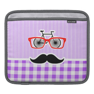 Funny Hipster Mustache Purple Gingham iPad Sleeve