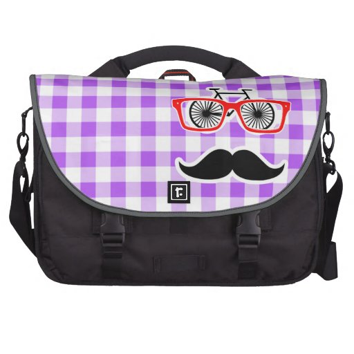 Funny Hipster Mustache Purple Gingham Computer Bag