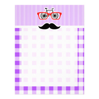 Funny Hipster Mustache Purple Gingham Letterhead Design