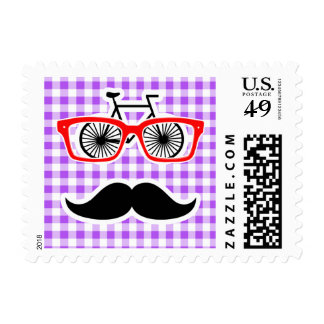 Funny Hipster Mustache Purple Gingham Postage Stamp