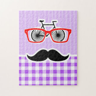 Funny Hipster Mustache Purple Gingham Jigsaw Puzzle