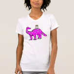 ,Funny Hipster Owl & Pink Dinosaur T-shirt