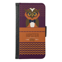 Funny Hipster Style Owl Samsung Galaxy S6 Wallet Case