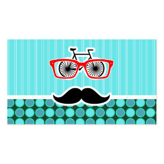 Funny Hipster; Turquoise Polka Dots Business Card Template