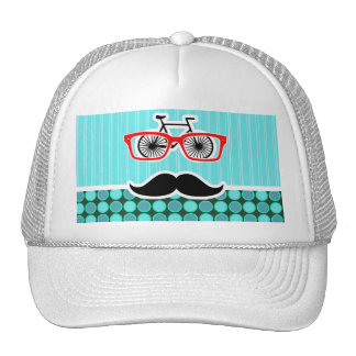Funny Hipster; Turquoise Polka Dots Hat
