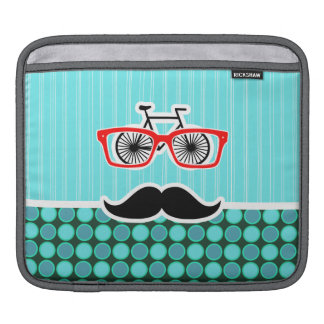 Funny Hipster; Turquoise Polka Dots iPad Sleeves