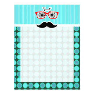 Funny Hipster; Turquoise Polka Dots Letterhead