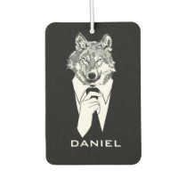 Funny Hipster Wolf with Black Tuxedo Personalized Air Freshener