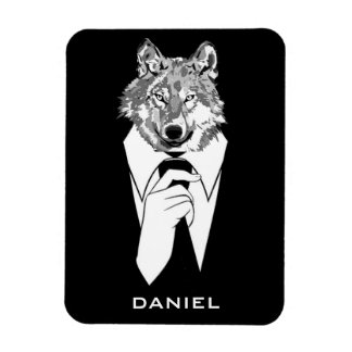 Funny Hipster Wolf with Black Tuxedo Personalized Magnet