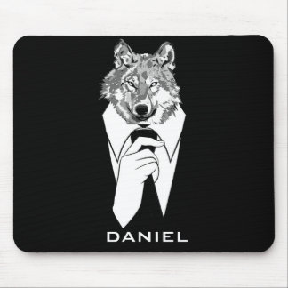Funny Hipster Wolf with Black Tuxedo Personalized Mouse Pad