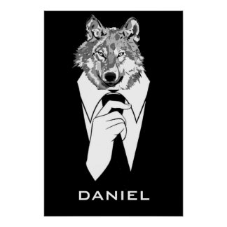 Funny Hipster Wolf with Black Tuxedo Personalized Poster