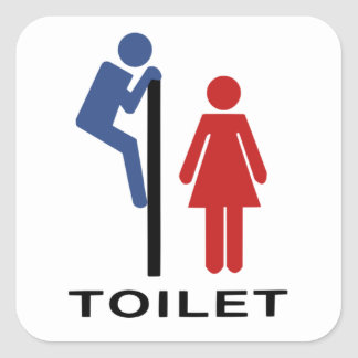 Funny His Hers Toilet Sign Women Restroom Sign Square Sticker
