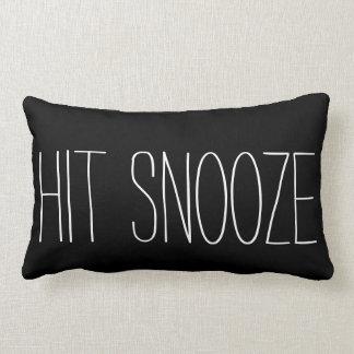 Funny Hit Snooze black white modern trendy humor Lumbar Pillow