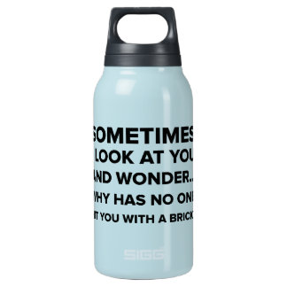 Funny Hit You With a Brick Insulated Water Bottle