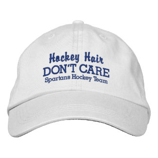 "Funny ""Hockey Hair Don't Care"" custom team name Embroidered Baseball Hat"