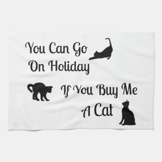 Funny Holiday Cat Kitchen Towel