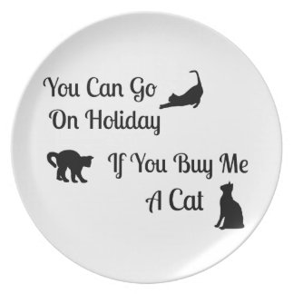 Funny Holiday Cat Plate