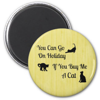 Funny Holiday Cat Round Magnet